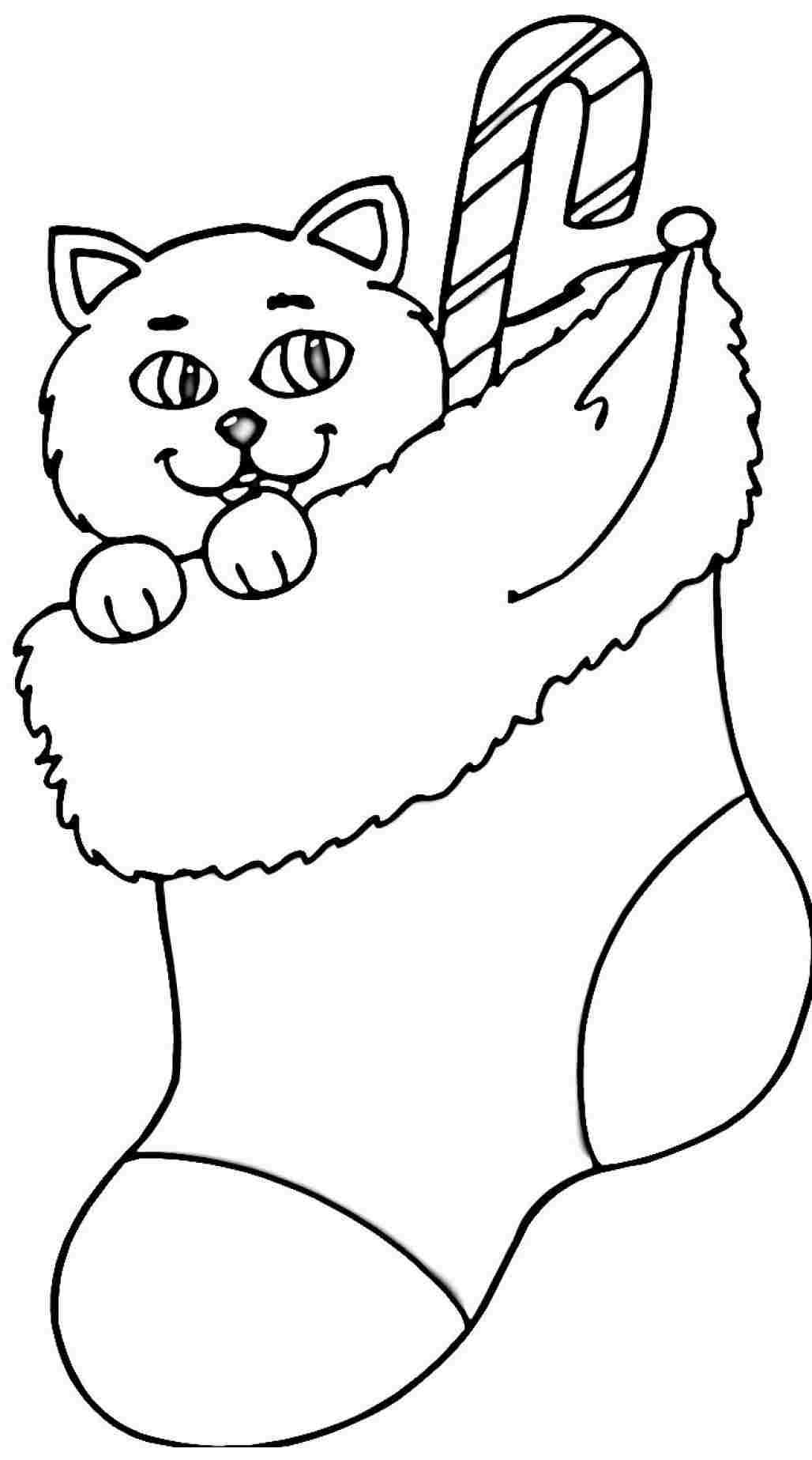 Printable christmas stocking coloring pages coloring home for Christmas stocking color page
