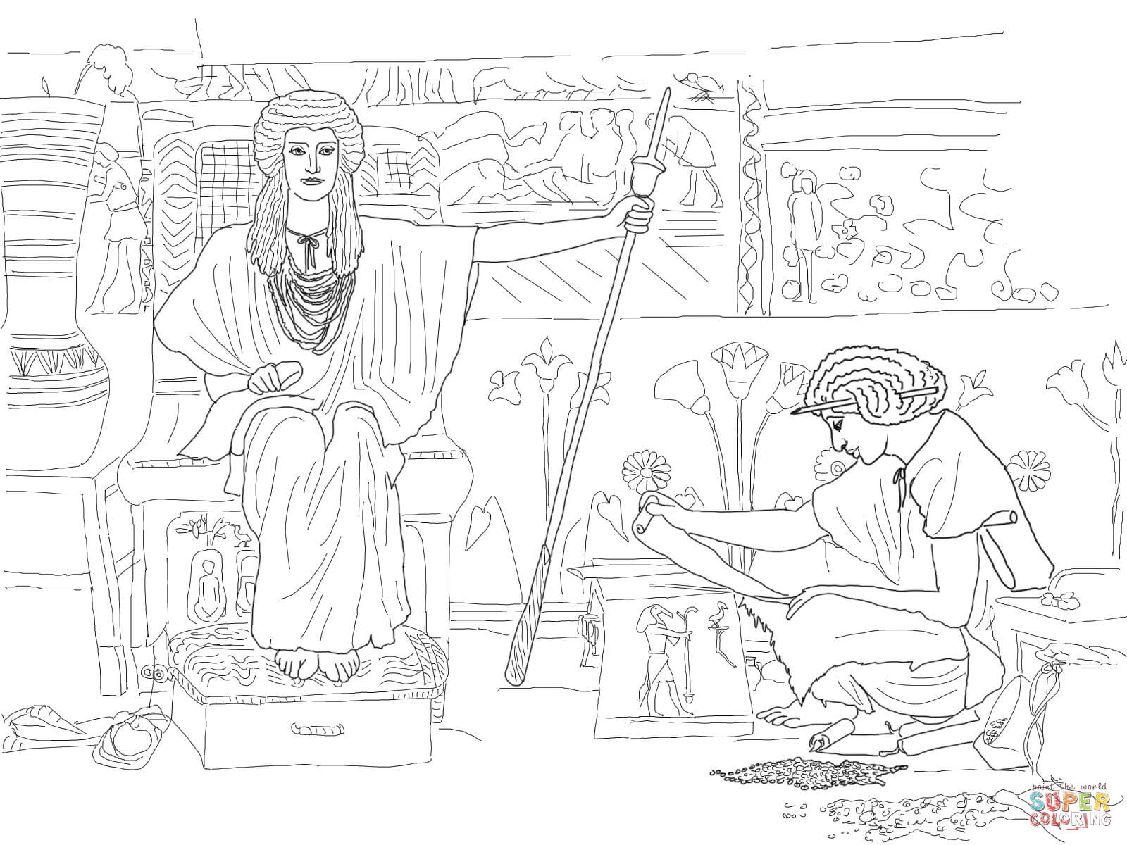Joseph Overseer of Pharaoh's Granaries coloring page | Free ...
