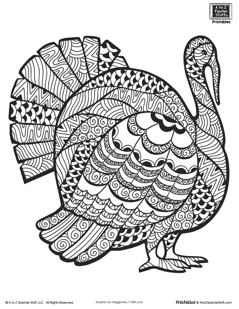Detailed Turkey Advanced Coloring Page | A to Z Teacher Stuff ...