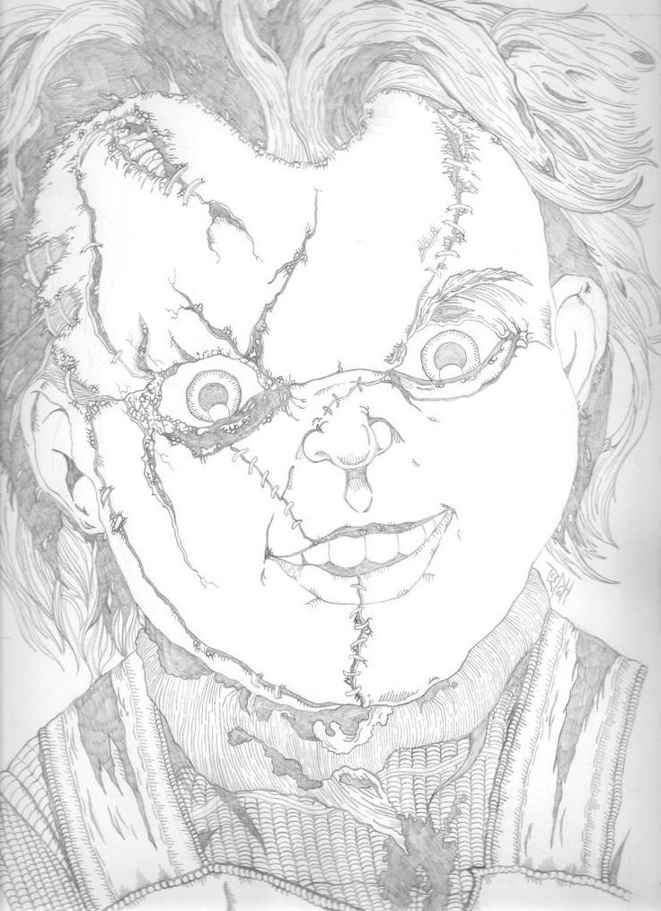 Chucky Doll Coloring Pages Printable Tribute Piece To Everyone S