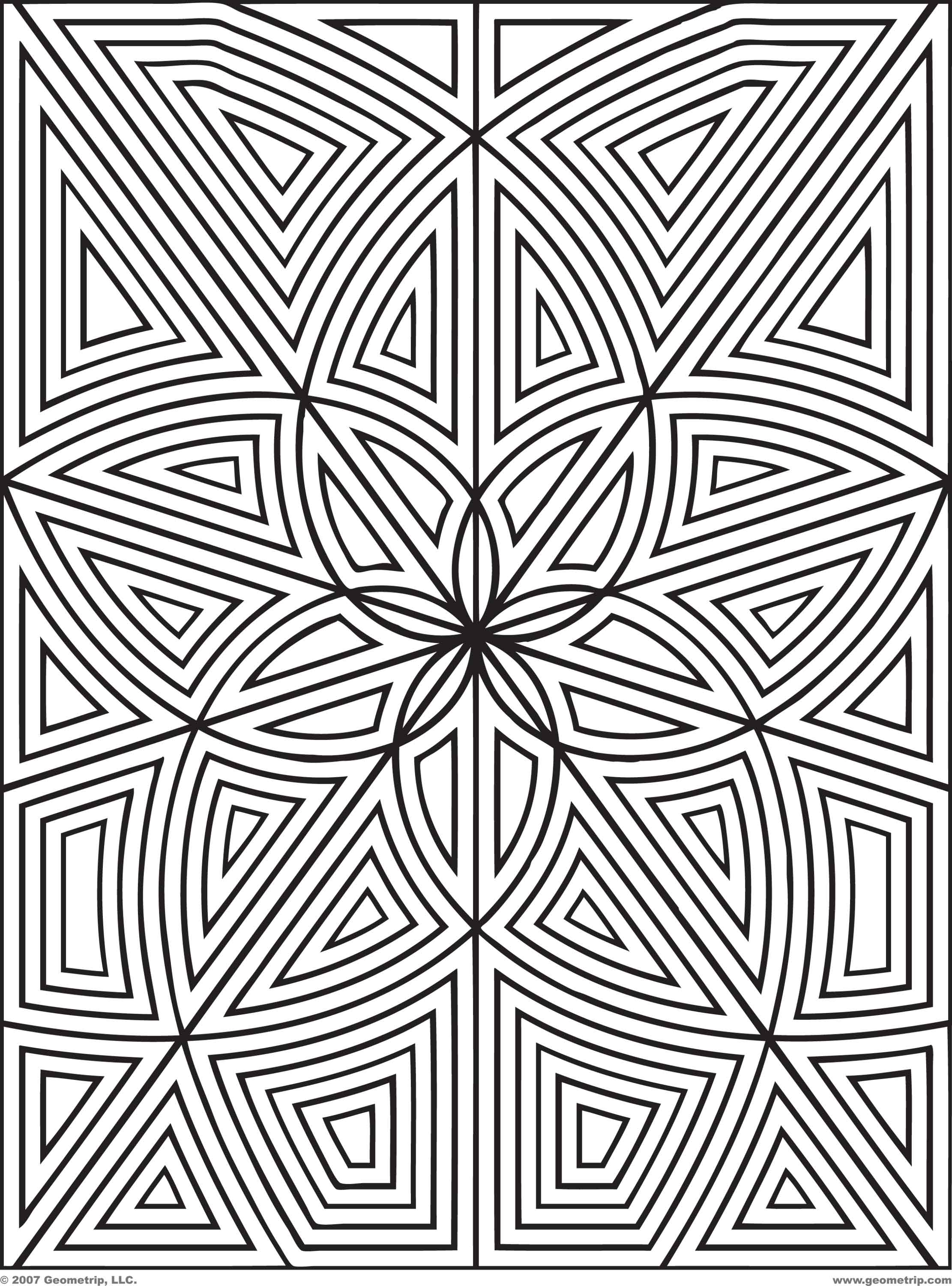 Printable coloring pages geometric patterns - Geometric Flower Coloring Pages Advanced Coloring Pages Geometric