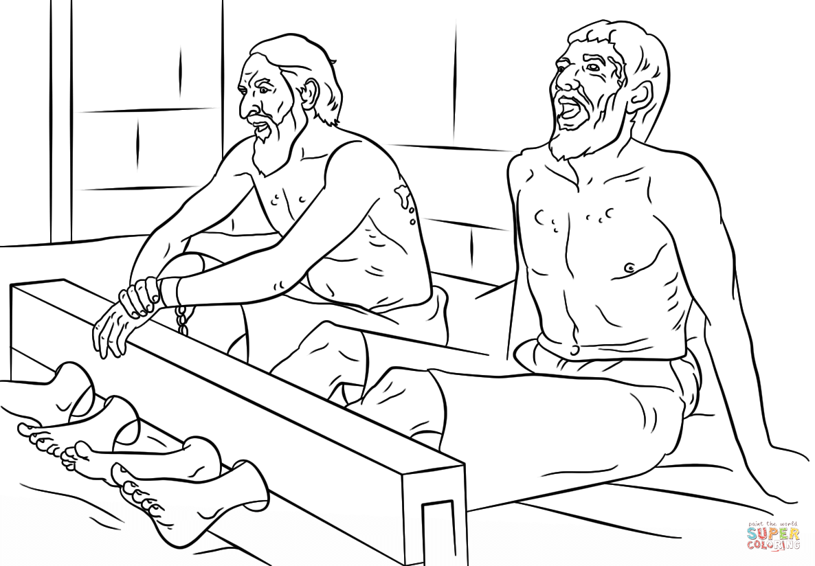 Paul And Silas In Jail Free Coloring Page Coloring Home Paul And Silas Coloring Page
