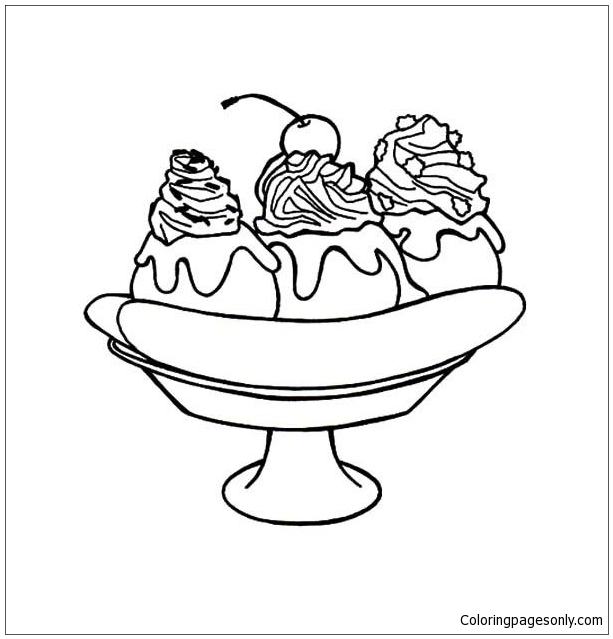 Banana Split For Dessert Coloring Page - Free Coloring Pages Online