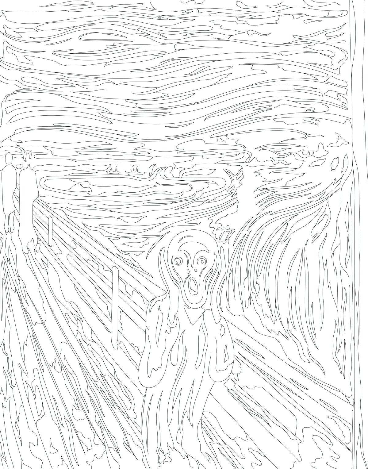 The Scream (1893) by Edvard Munch adult coloring page | Free photo - 2304570