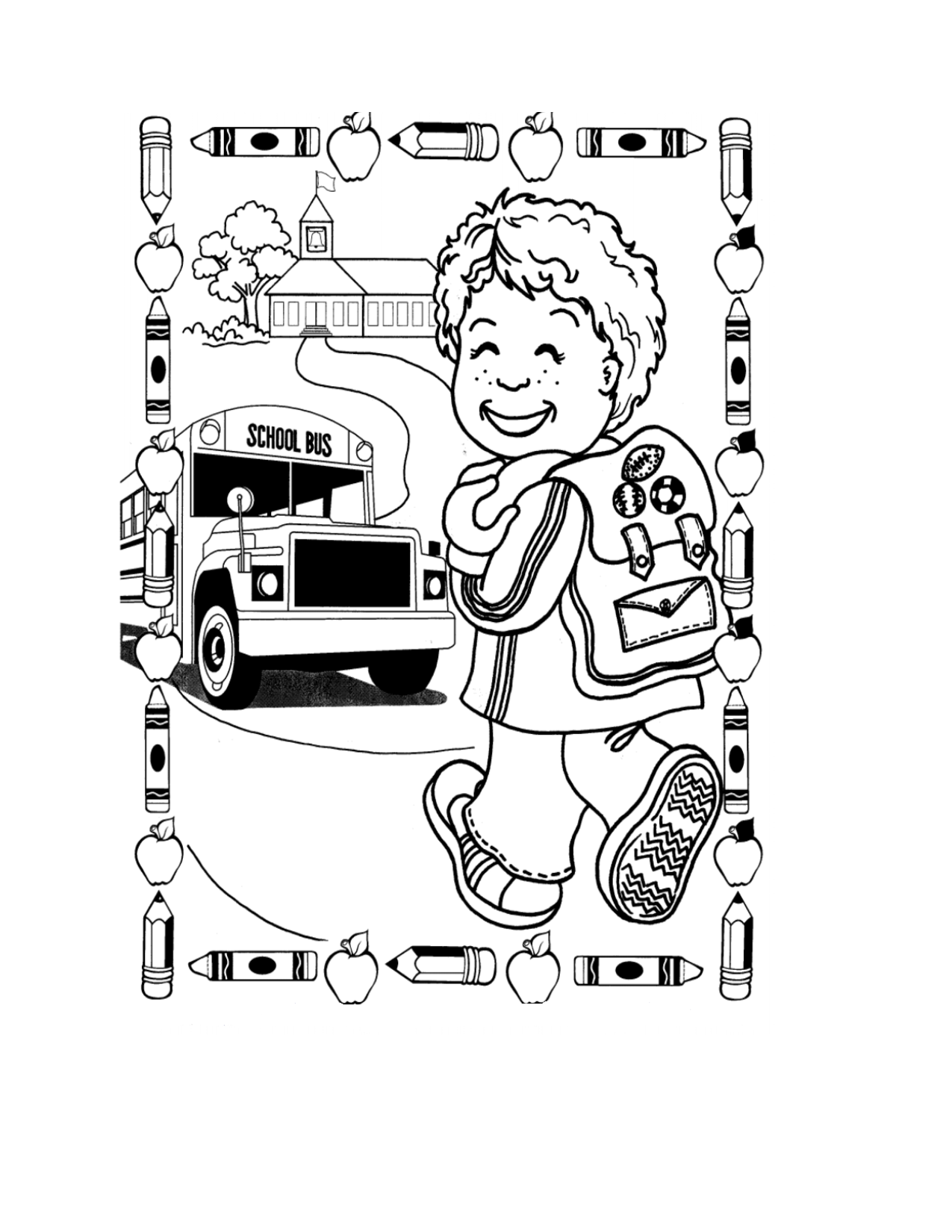 This is a photo of Terrible back to school coloring pages for first grade