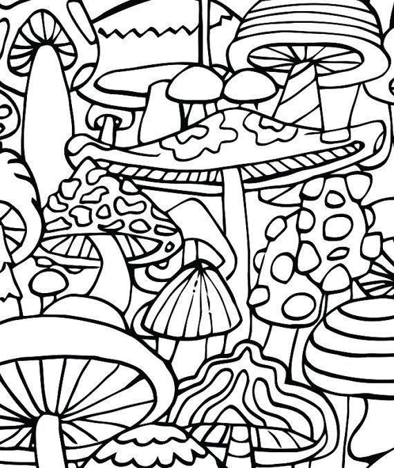 Adult Coloring Page - Mushrooms - Printable Coloring Page - Coloring  Home