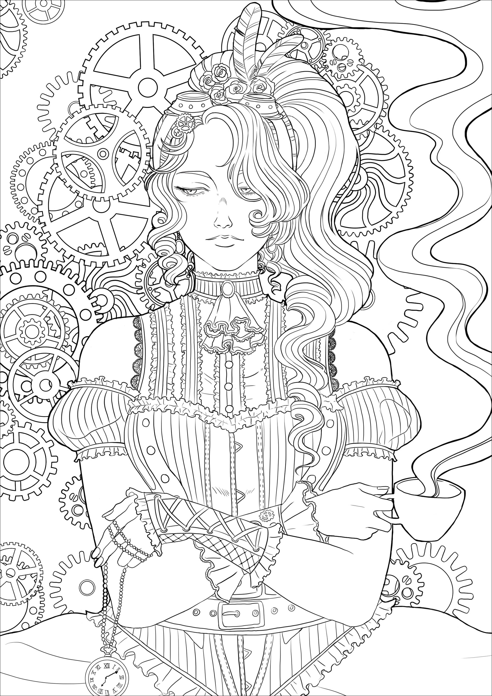 Steampunk Coloring Pages - Coloring Home
