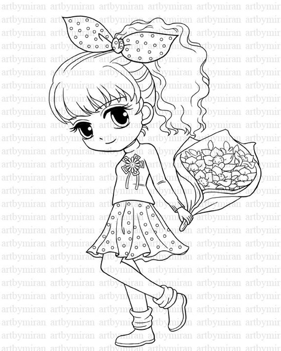 Digi Stamp-Isabel's Bouquet, Pretty Girl Coloring page, Big ...