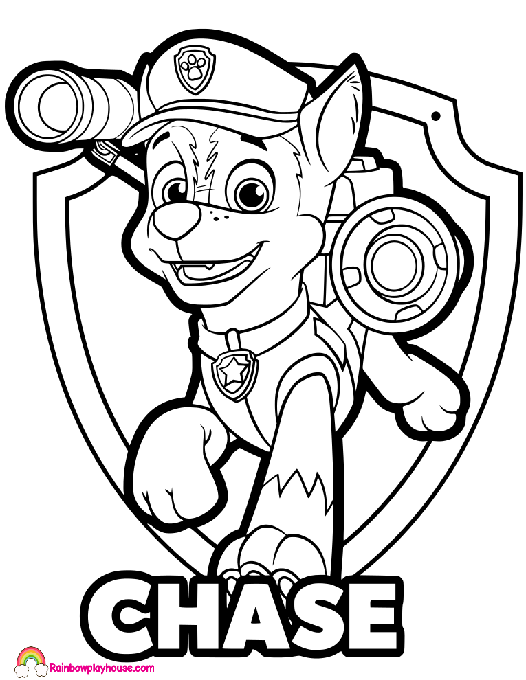 Paw Patrol Printable Coloring Pages Chase - Coloring Home