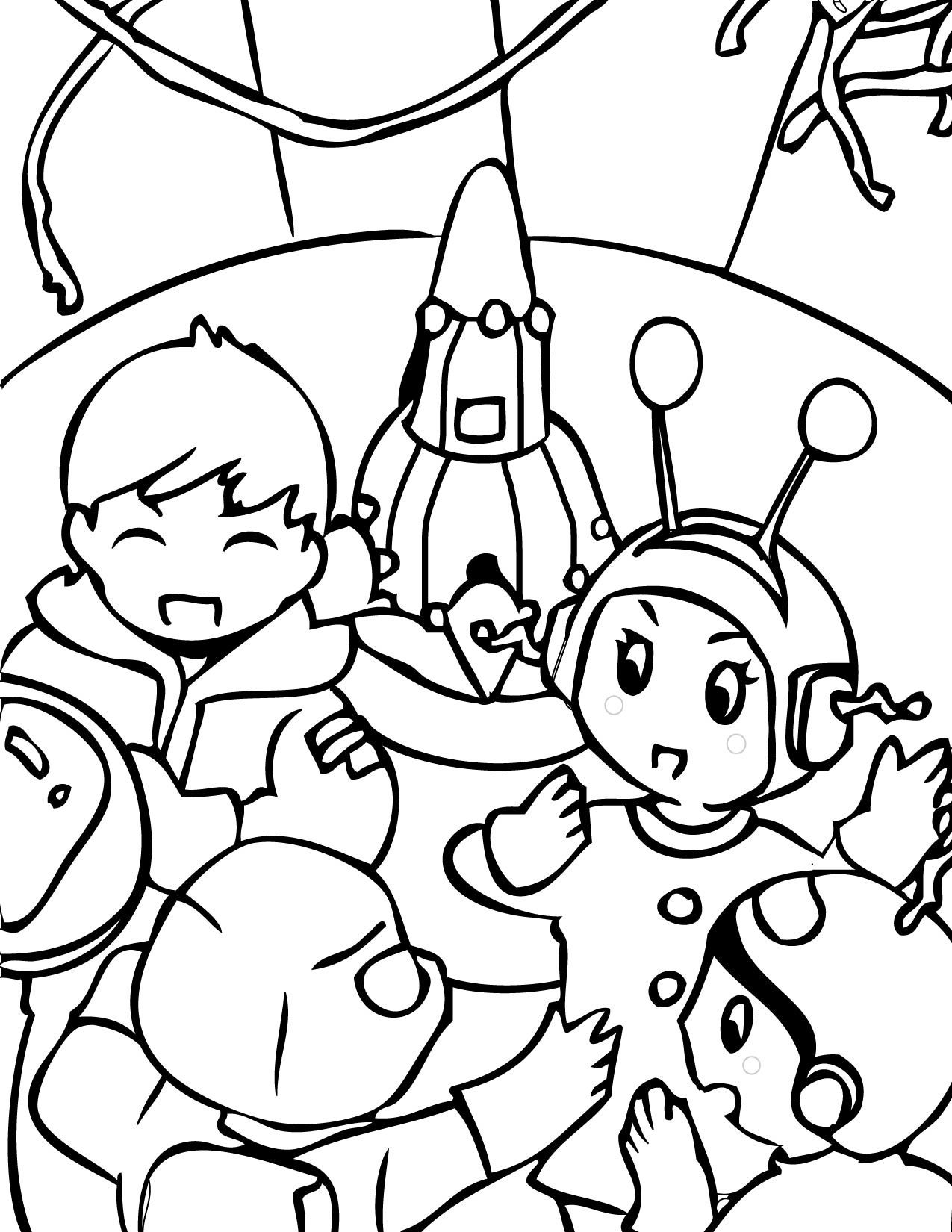 Alien In Spaceship Alien Coloring Page Coloring Page Space ...