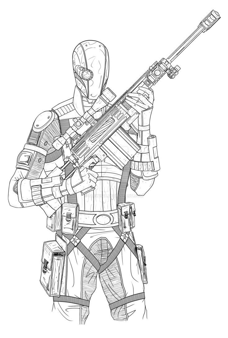 Deathstroke Batman Arkham Knight Coloring Pages Sketch Page