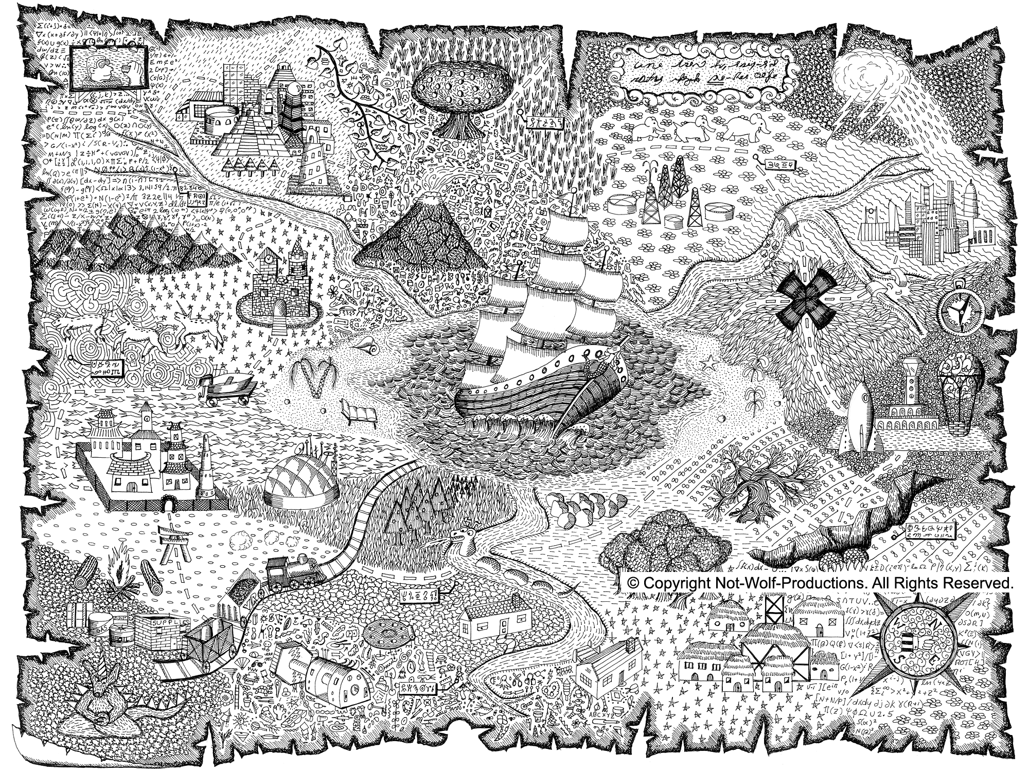 Treasure map coloring pages for kids coloring home for Coloring pages maps