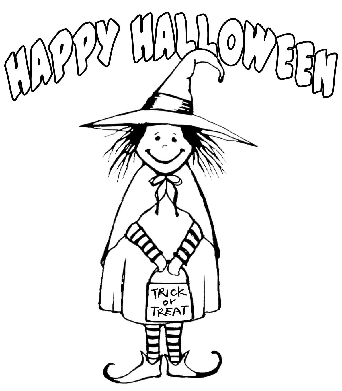 Witch Costume Happy Halloween Coloring Pages Printable Free ...
