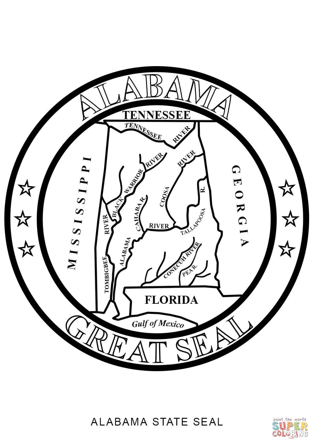 Alabama State Seal coloring page | Free Printable Coloring Pages