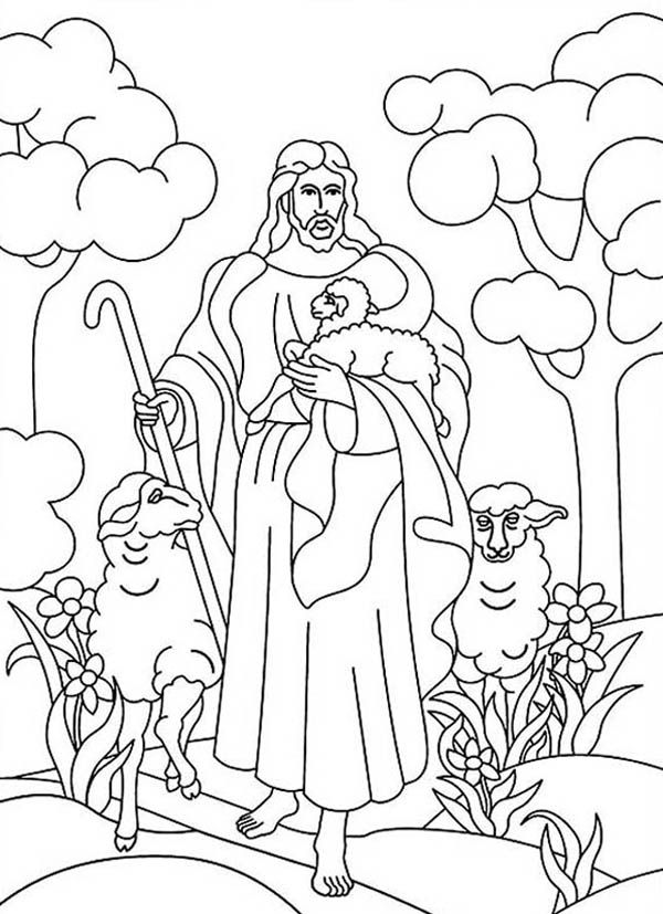Jesus Resurrection in Heaven with Lambs Coloring Page - NetArt