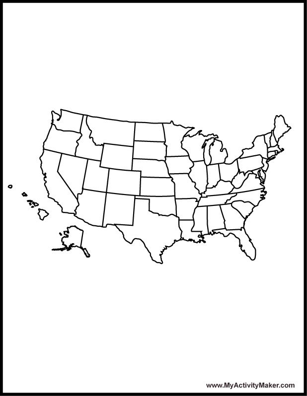 Maps: Usa Map Coloring Page