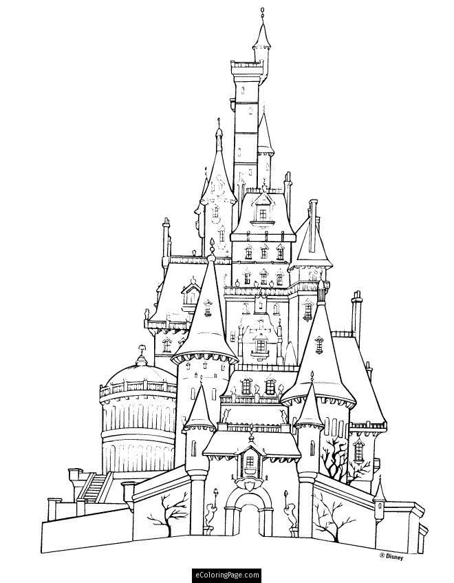 Disney Beauty And The Beast Castle Printable Coloring Page Coloring Home