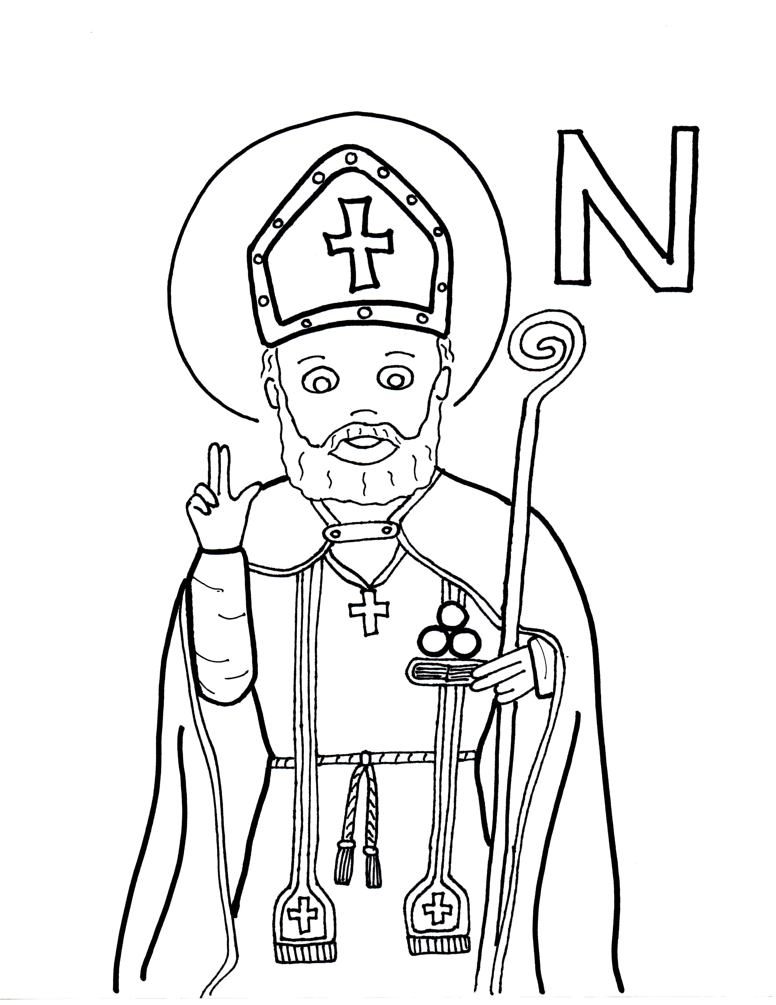 St nicholas coloring pages coloring home for Saint dominic savio coloring page