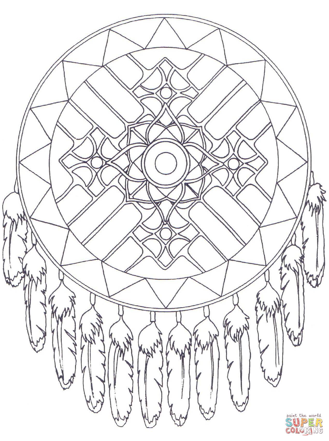 dream catcher coloring pages to download and print for free - Dream Catcher Coloring Pages