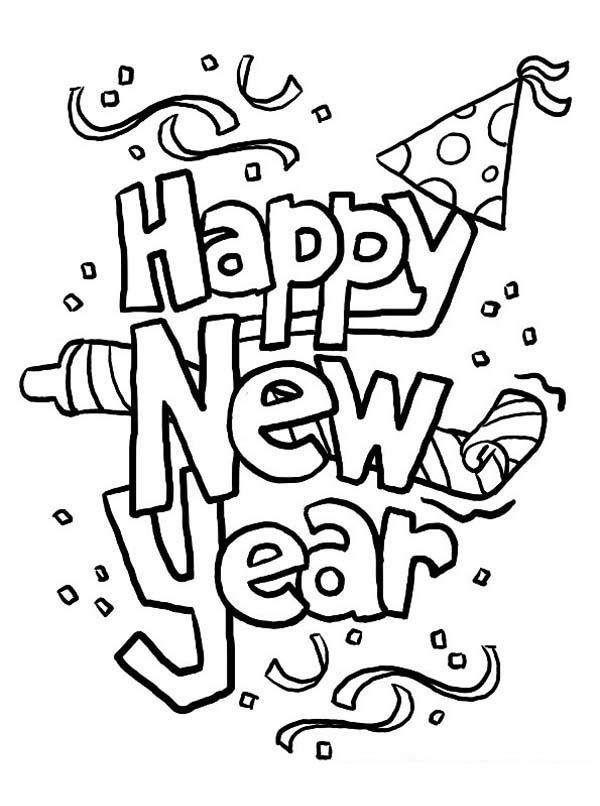 Happy New Year Hat Coloring Pages