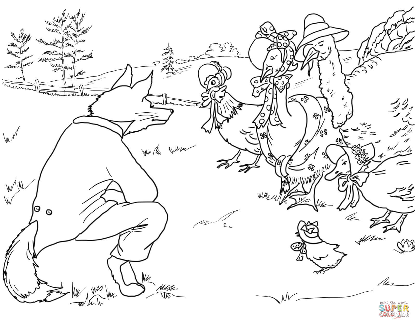Henny Penny Is Screaming The Sky Falling Coloring Page