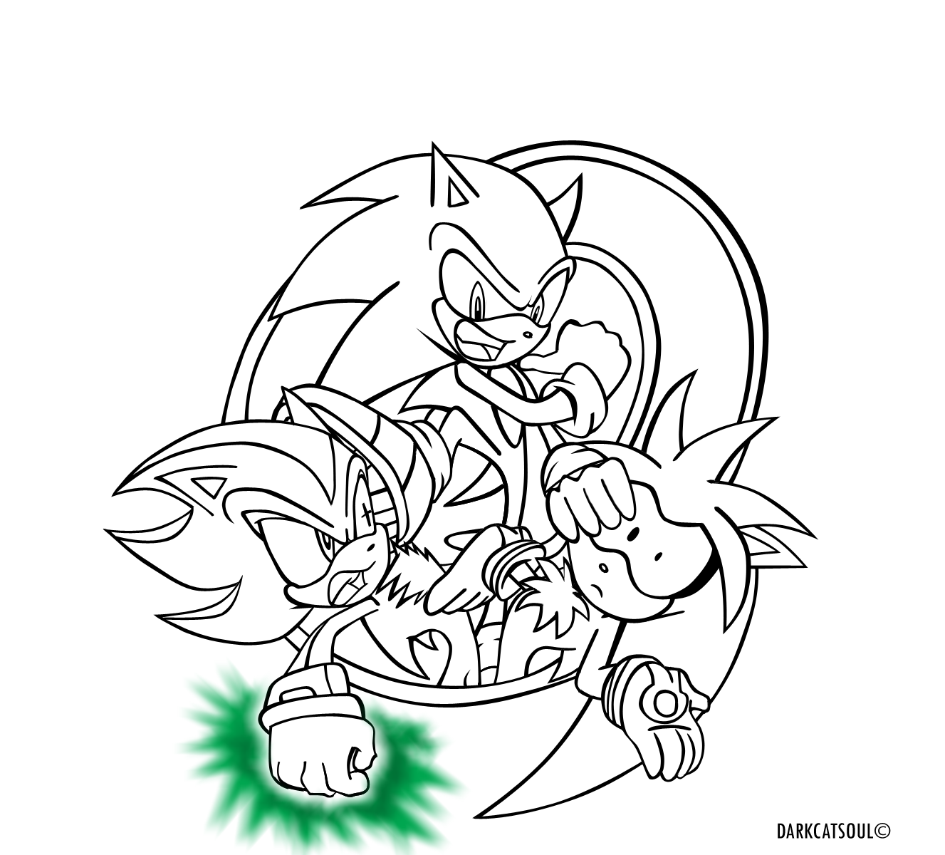 - Sonic And Shadow Coloring - Coloring Pages For Kids And For Adults