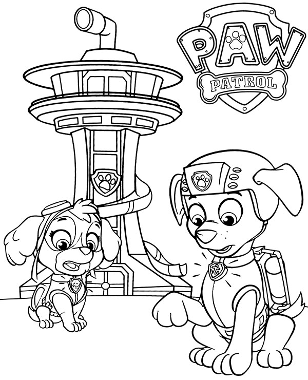 Skye And Zuma On Paw Patrol Coloring Pages For Kids - Coloring Home