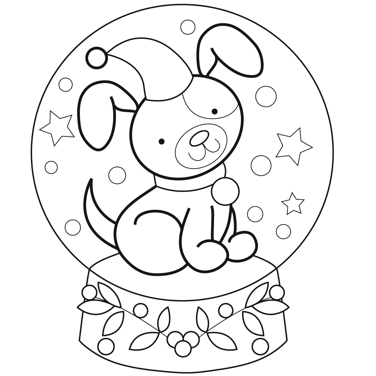 fox snow globe coloring pages - photo#25