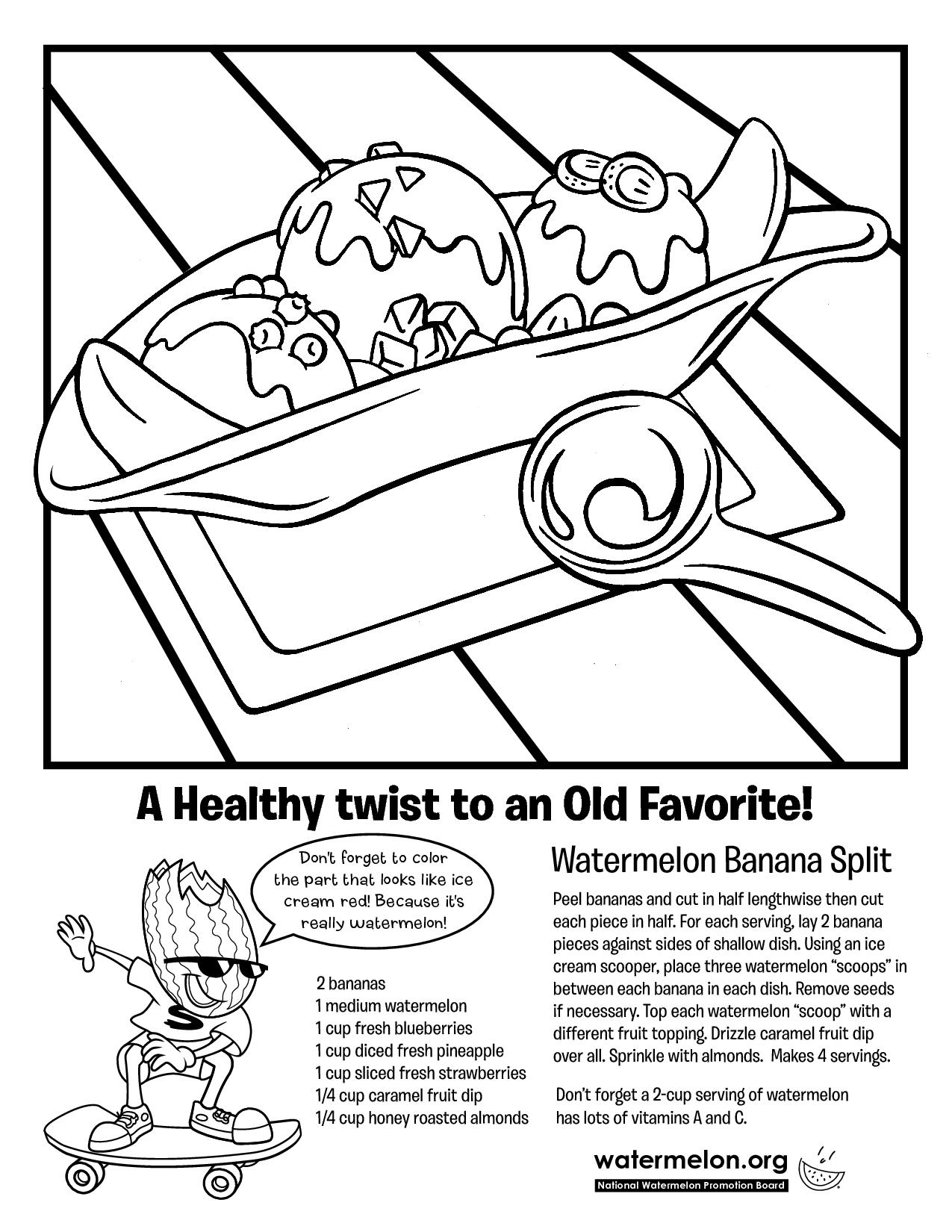 Banana Split Coloring Page