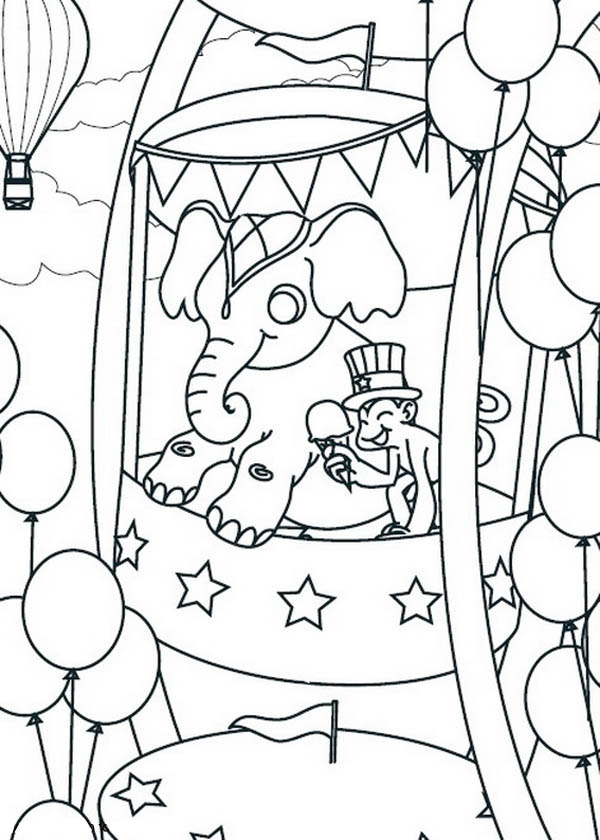 Ferris Wheel Coloring Page - Coloring Home | 840x600