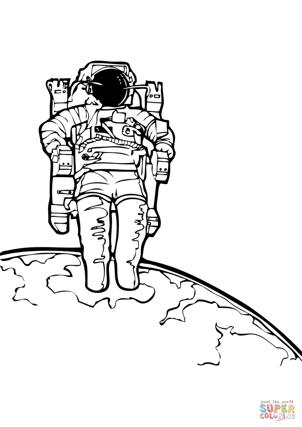 astronaut in the outer space coloring page free printable - Astronaut Coloring Pages Printable