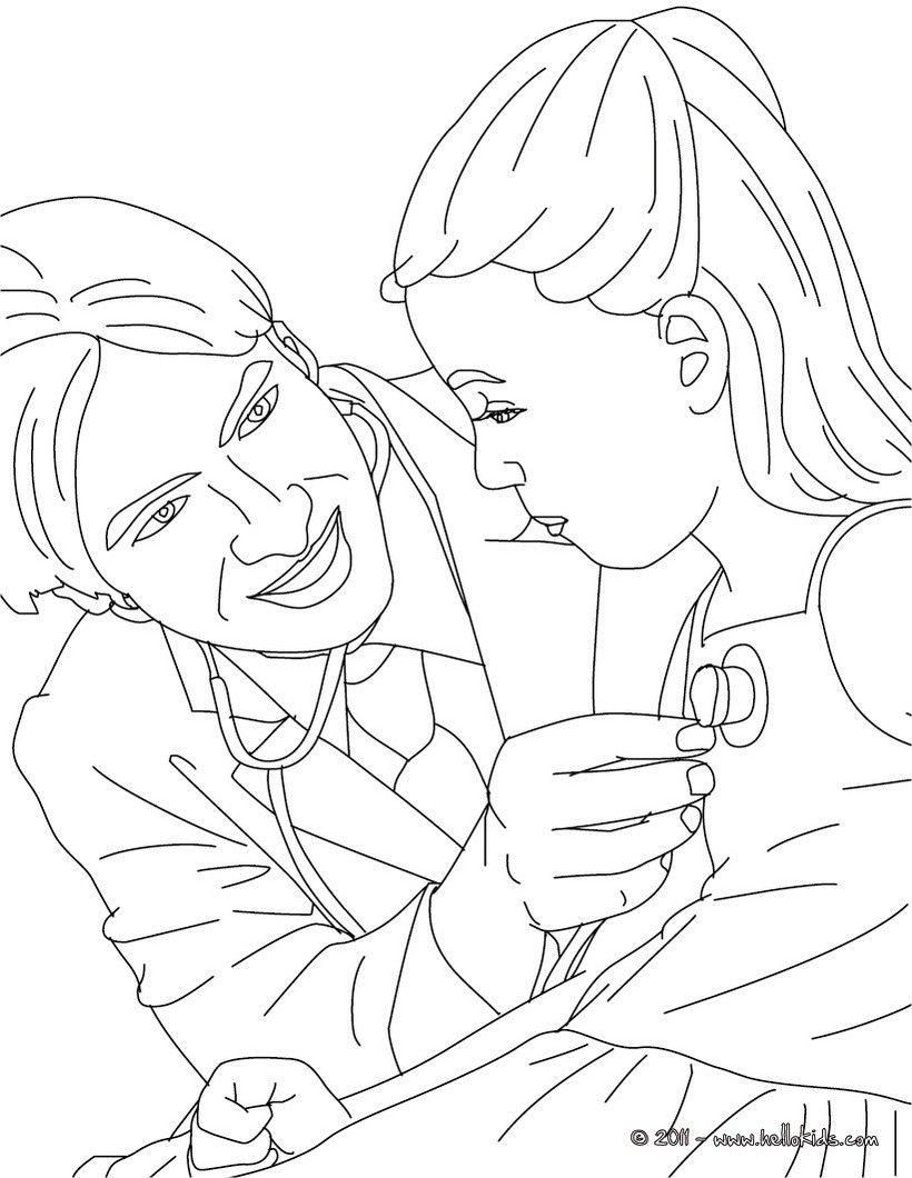 DOCTOR coloring pages - Kid with doctor