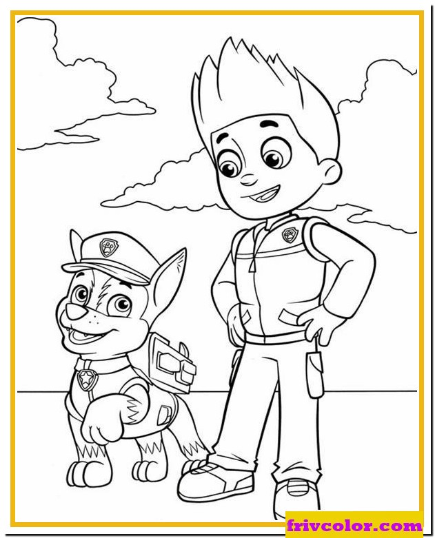 Paw Patrol Ryder And Chase - Friv Free Coloring Pages For Children -