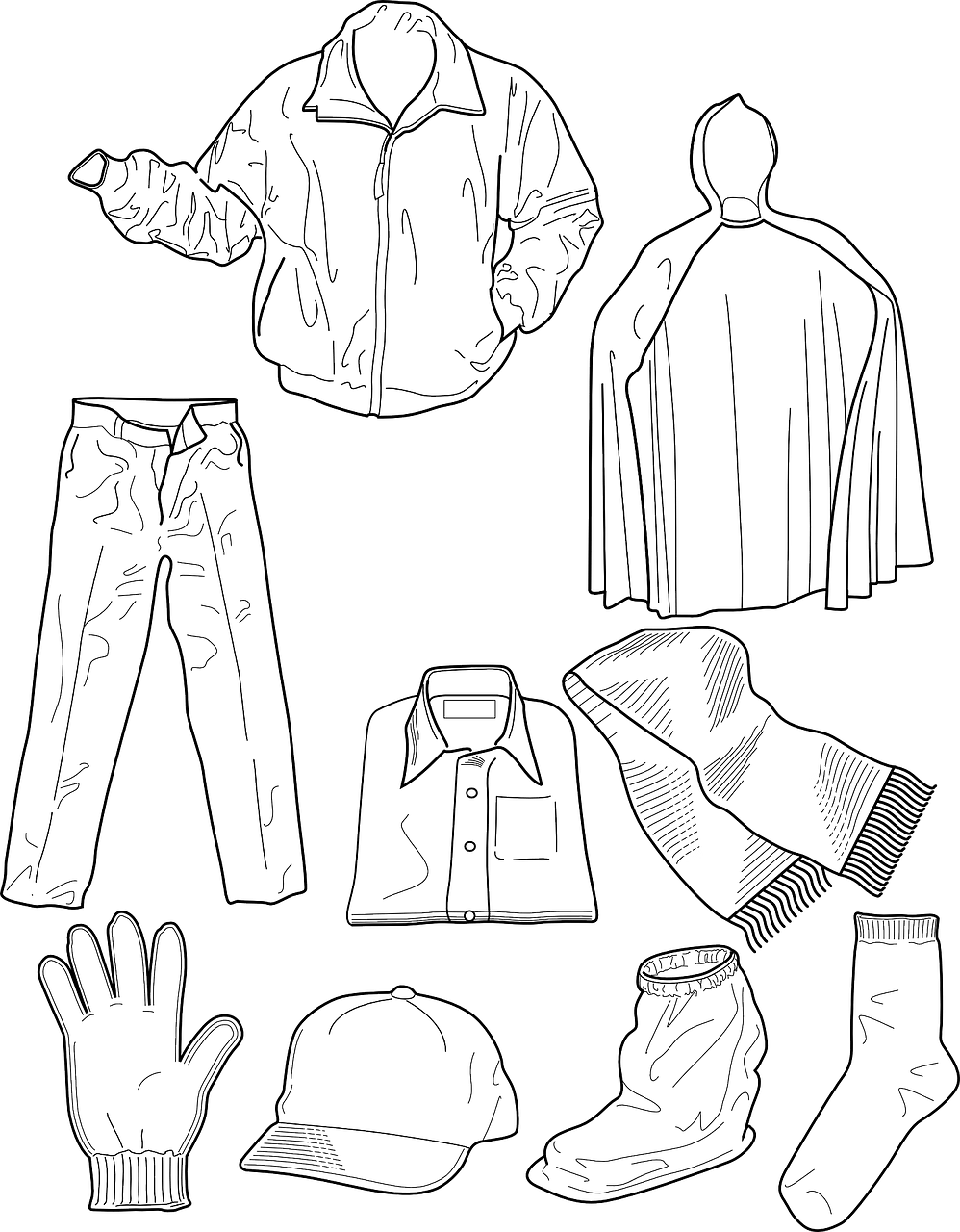 Winter clothes coloring page coloring home for Clothing coloring page