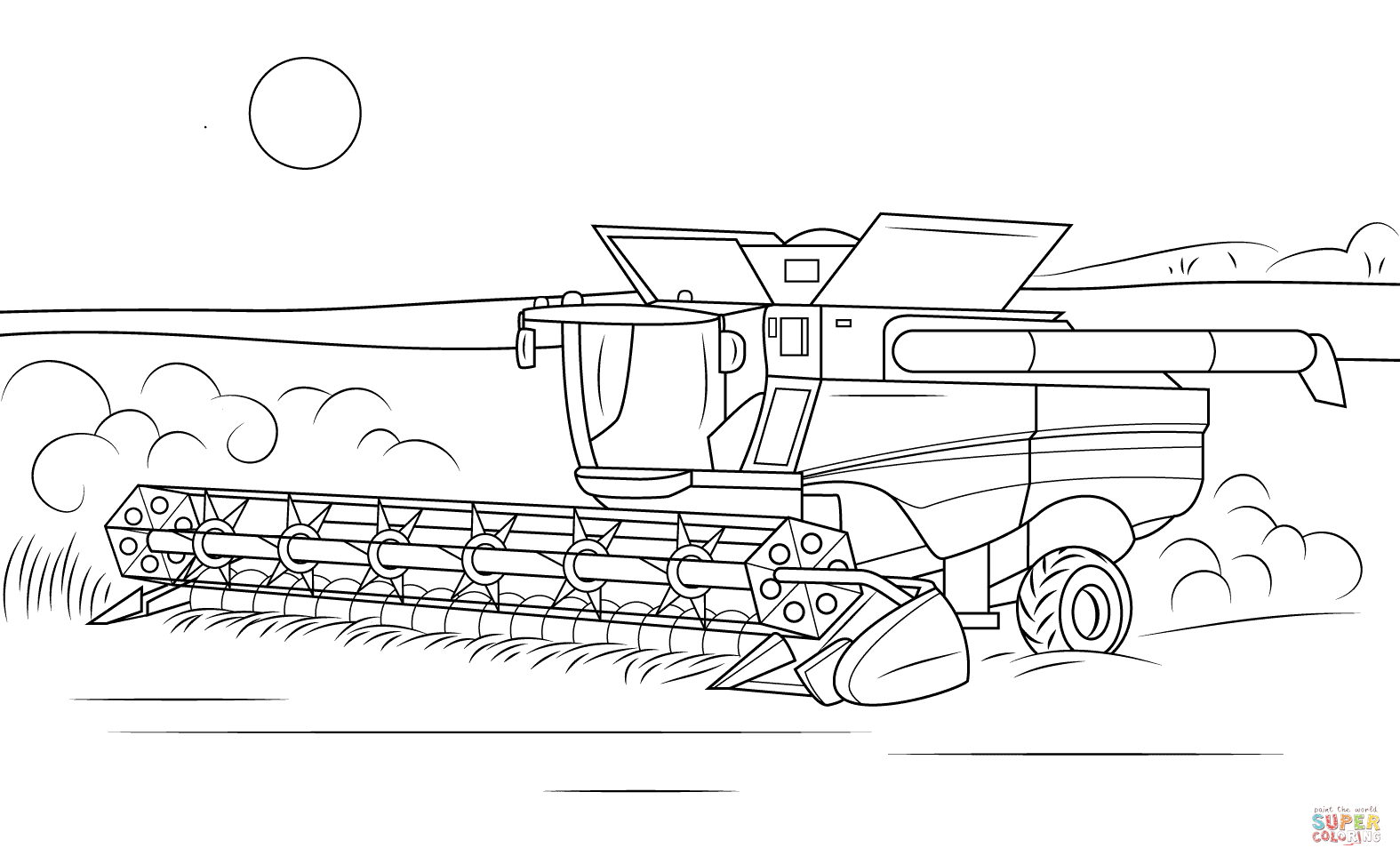 John Deere Combine Coloring Page Free Printable Coloring