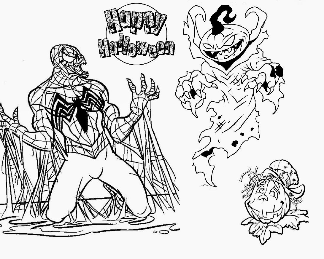 Halloween coloring pages online scary - Evil Spiderman Scary Pumpkin Halloween Coloring Pages Not