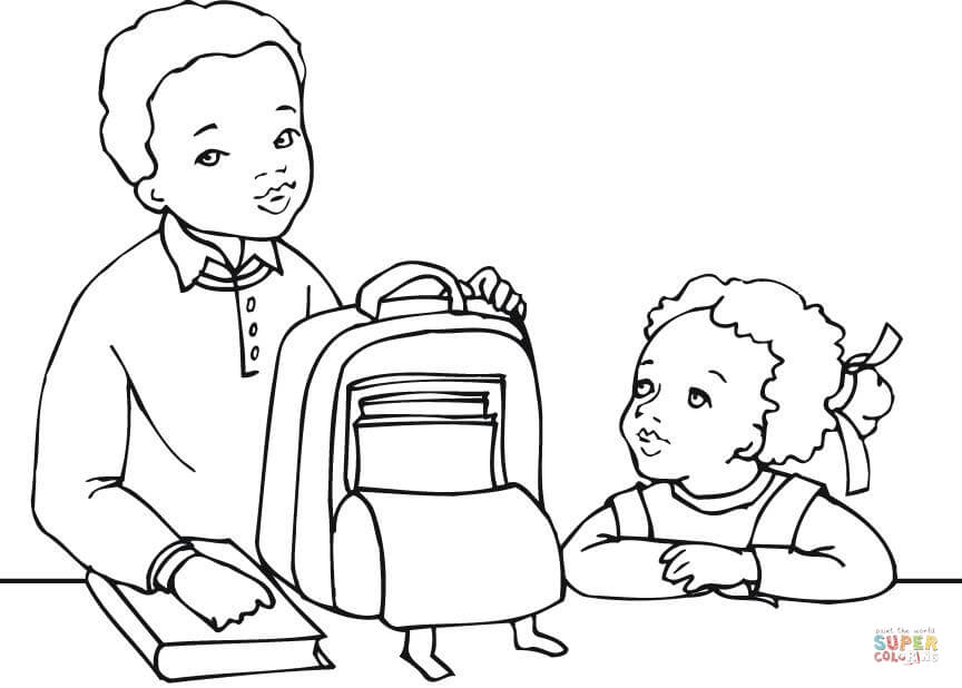 African American Boy and Girl Getting Ready for School coloring .