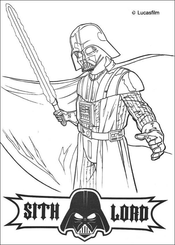 DARTH VADER coloring pages - Darth Vader with a laser sword