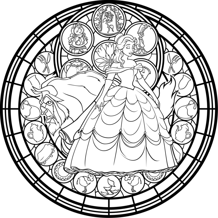 Beauty and the beast stained glass window coloring page for Window coloring page