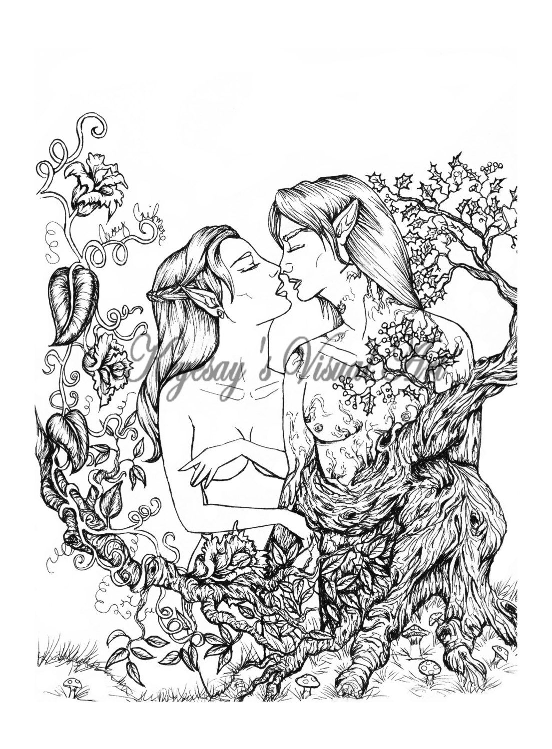 Adult fantasy coloring pages for kids and for adults