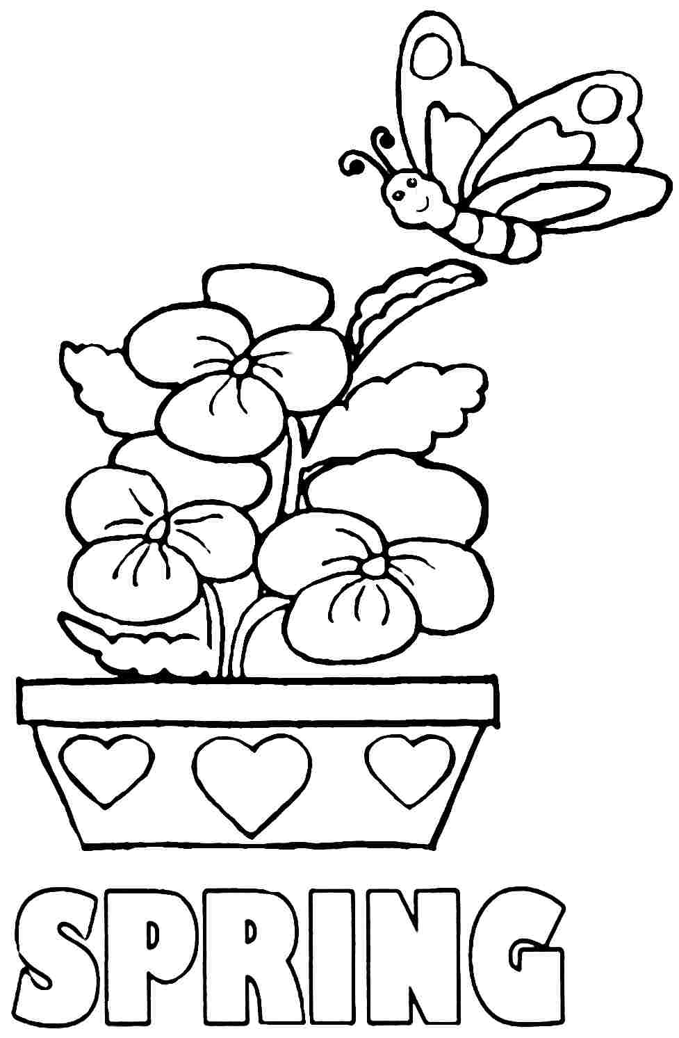 spring coloring pages detailed words - photo#9