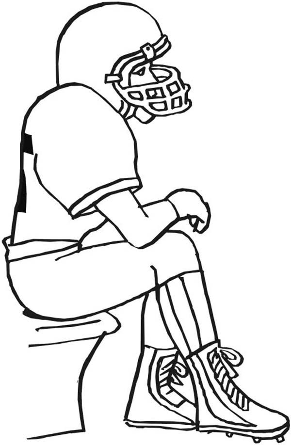 American American Football Waiting on the Bench Coloring Page ...