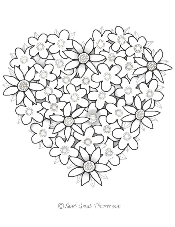 Coloring Pages Flowers And Hearts - Coloring - Coloring Home