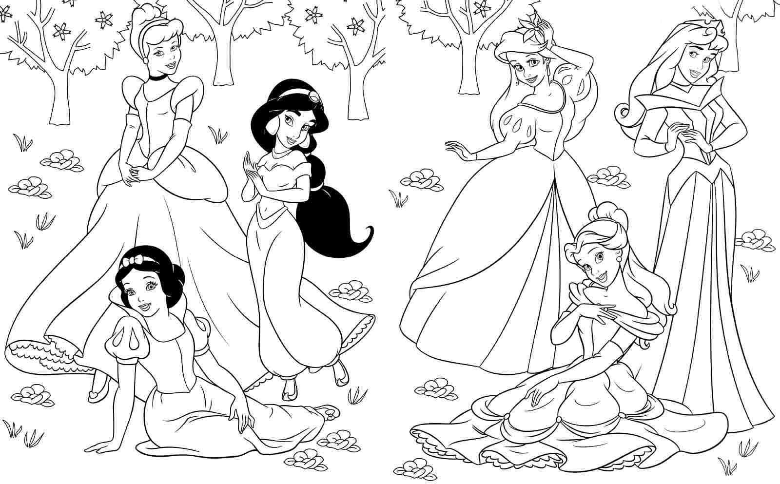 princesses coloring page coloring home
