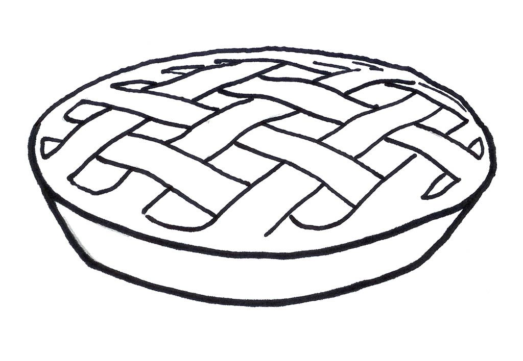 Pie Coloring Sheet - Coloring Pages for Kids and for Adults