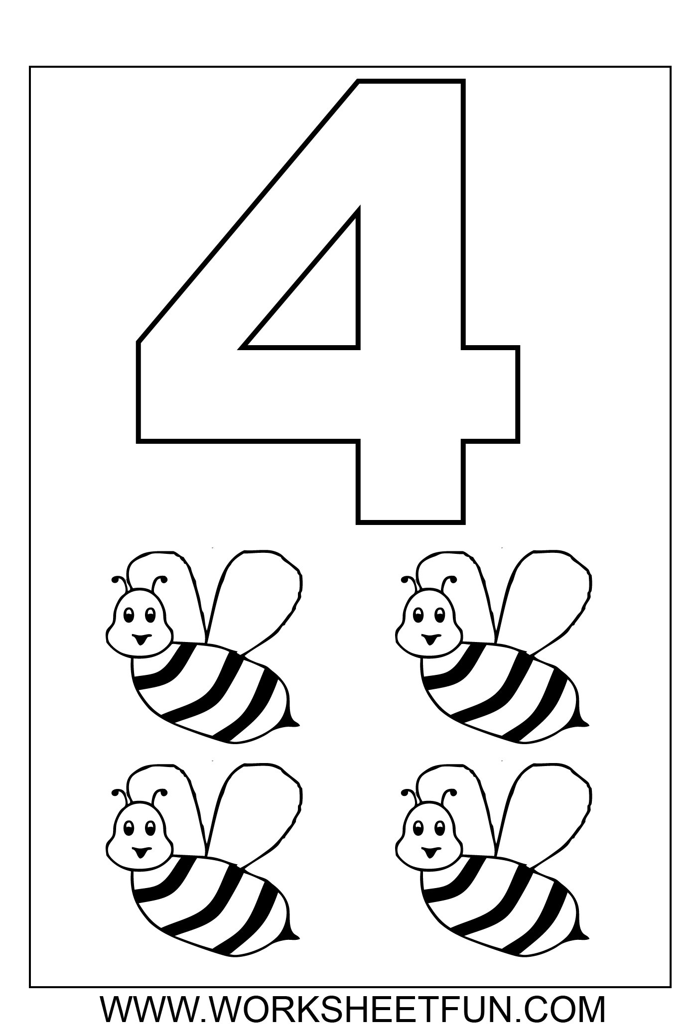 7 best images of number 4 coloring pages printable number 4