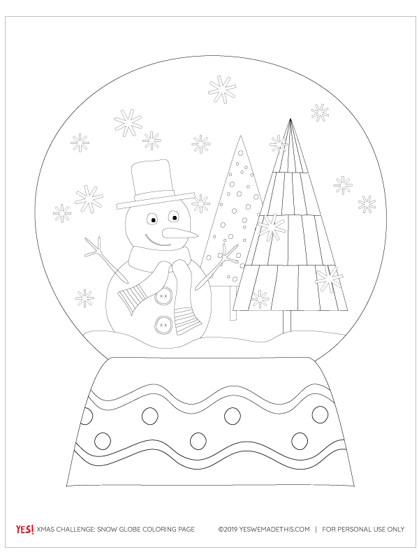 Snowglobe Coloring Page - PDF - YES! we made this