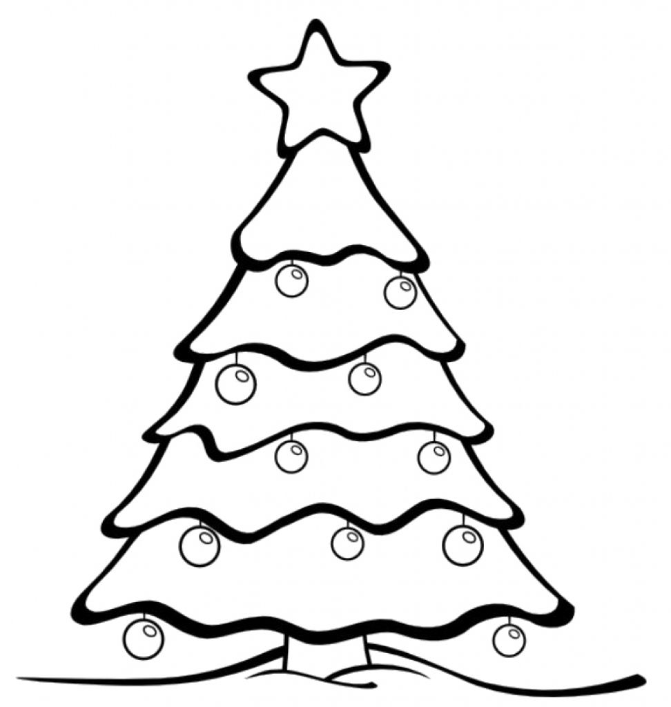 Christmas Tree Stencil Free Coloring