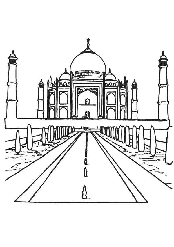 Taj Mahal Coloring Page In India Supercoloring Com Pinterest Coloring Home