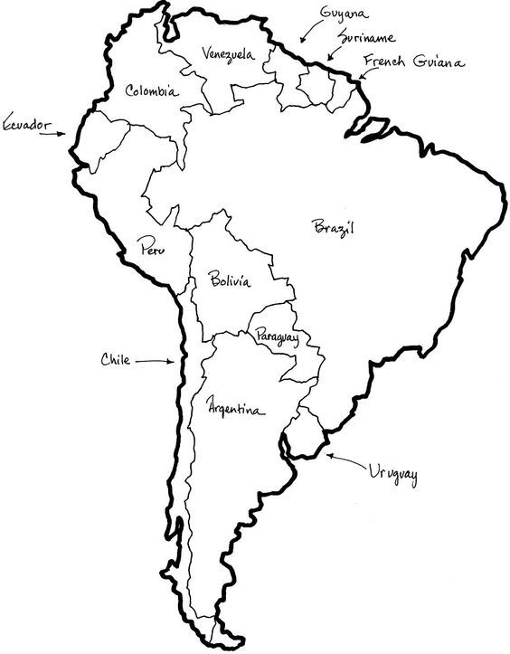 Map Of Central And South America Coloring Sheet - Google ...